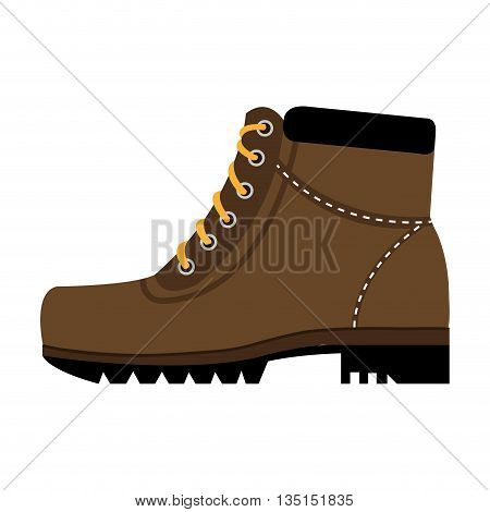 brown boots with yellow laces side view over isolated background, vector illustration