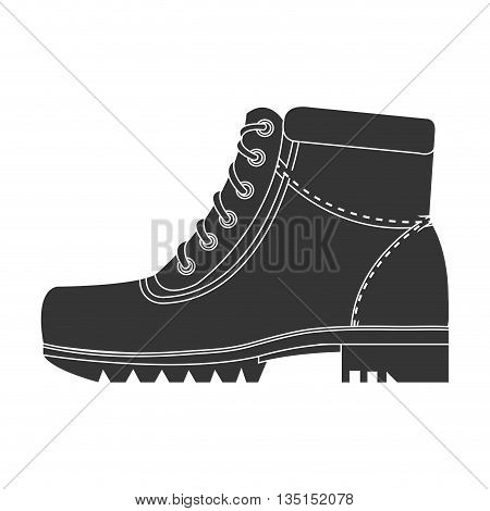 black boots with laces side view over isolated background, vector illustration