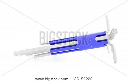 Allen wrench, steel tool for construction, isolated, on white background