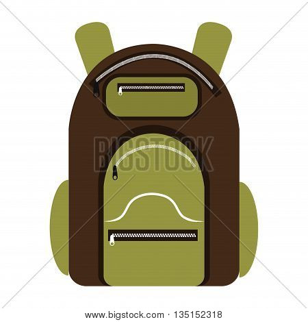green and brown  camping backpack over isolated background, vector illustration