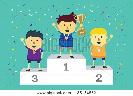 Three ranking winner kids standing on the winning podium holding up winning trophy.