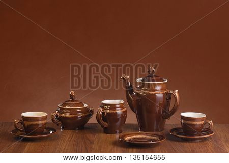 Empty ware for coffee on a gradient background