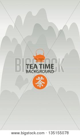 Banner for tea restaurant to the Japanese or Chinese cuisine with a pattern on a background of the teapot Chinese mountain landscape with space for writing. Hieroglyphs tea