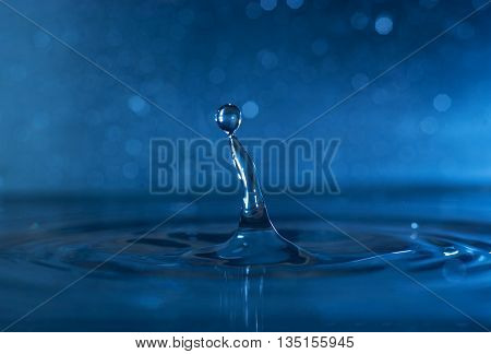 Close up of water drop with a beautiful bokeh background can be used for your background