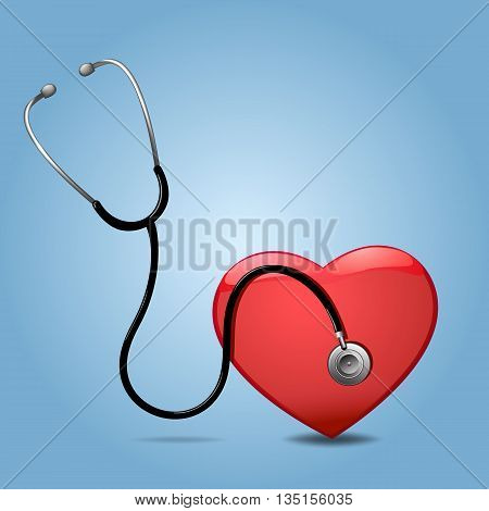 Stethoscope And Heart, Isolated On blue Background, Vector Illustration
