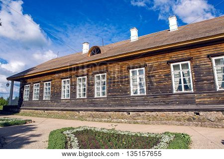 Pushkinskiye Gory, Russia - June 5: Sunny day in may in the estate Trigorskoye. Reserve-Museum Mikhailovskoye Birthday of the great writer Alexander Pushkin , on June 5, 2016.