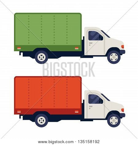 Free delivery car isolated on white background. Delivery truck sign. Delivery car icon. Delivery service van illustration. Post. Delivery service concept. Side view. Vector flat illustration.
