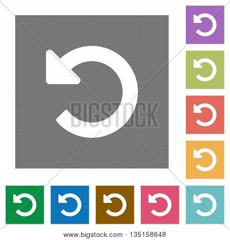 Undo changes flat icon set on color square background. poster