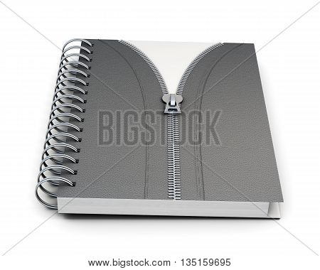 Notebook with hard cover and  zip isolated on white background. 3d render image.
