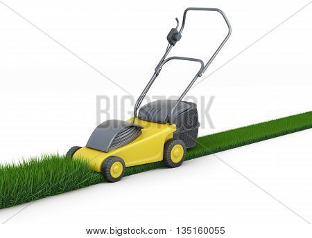 Lawn mower cutting grass isolated on white background. Swath of grass. Trimmed grass. 3d rendering.