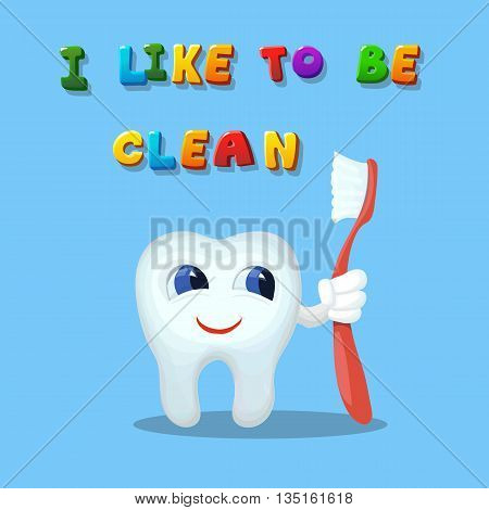 Cute cartoon tooth like cleaning with a brush Hand drawn cartoon art vector illustration I like to be clean