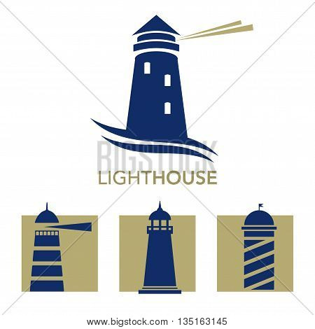 Lighthouse business vector photo free trial bigstock lighthouse business sign set vector template lighthouse abstract waves icon nautical banner maxwellsz