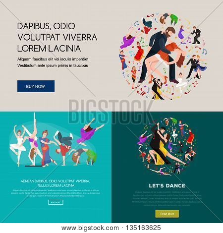 Dancing People, Dancer Bachata, Hiphop, Salsa, Indian, Ballet, Strip, Rock and Roll, Break, Flamenco, Tango, Contemporary, Belly Dance Pictogram Icon Dancing style of design concept set vector illustration set poster