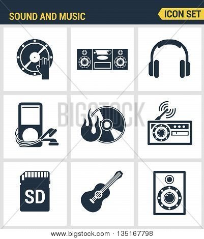 Icons set premium quality of sound symbols and studio equipment music instruments audio and multimedia objects. Modern pictogram collection flat design style. Isolated white background.