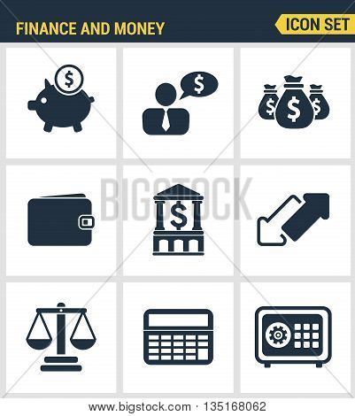 Icons Set Premium Quality Of Finance Objects And Banking Elements, Financial Items And Money Symbol.