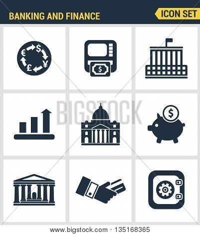 Icons set premium quality of money making, banking and financial services. Modern pictogram collection flat design style symbol collection. Isolated white background.