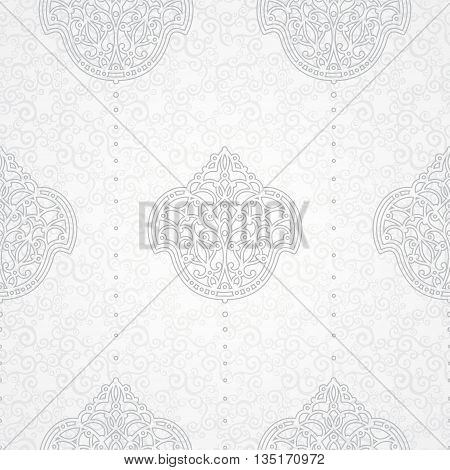 Vector seamless pattern in Eastern style. Ornate element for design. Ornamental backdrop and light lace background. Ornate floral decor for wallpaper. Endless texture. Monochrome pattern fill.