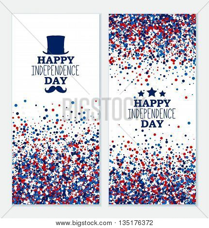 American Happy Independence Day banners set. 4th July festive greeting cards with top hat mustache star. Independence Day concept design kit in traditional American colors - red white blue.