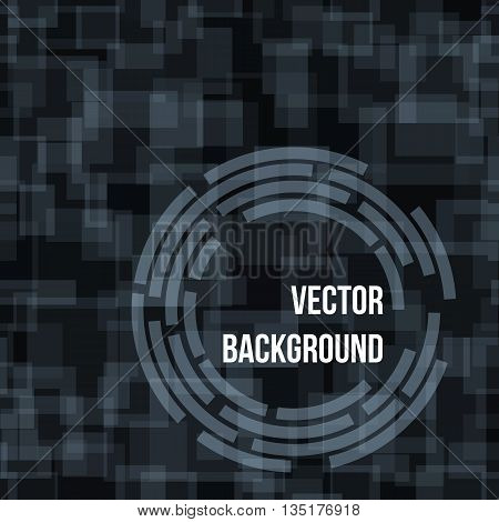 Abstract seamless dark green technical circle and rectangles vector background