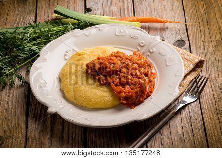 polenta with leek and tomato sauce