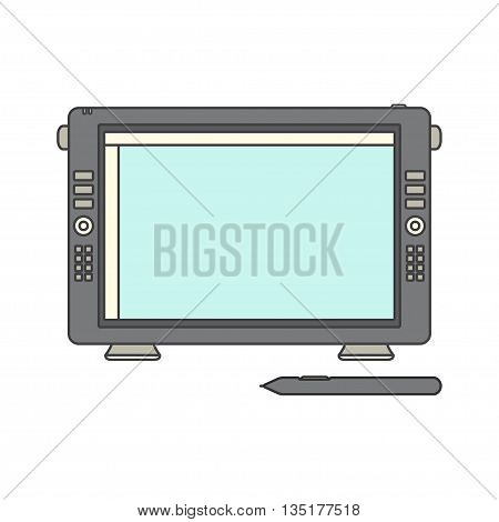 Pen display icon. Vector illustration with pen display and sensor pen. Isolated on a white background.