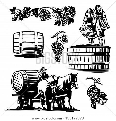 Women dancing in a barrel with grapes and charioteer on the cart with a horse driven wine. Black and white vintage vector illustration for label, poster, web.