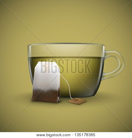 Cup of green tea with bag of tea isolated on green background. Bag of green tea.