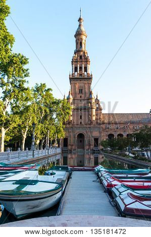 A view of Spain Square in Seville Spain