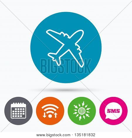 Wifi, Sms and calendar icons. Airplane sign. Plane symbol. Travel icon. Delivery flight flat label. Go to web globe.