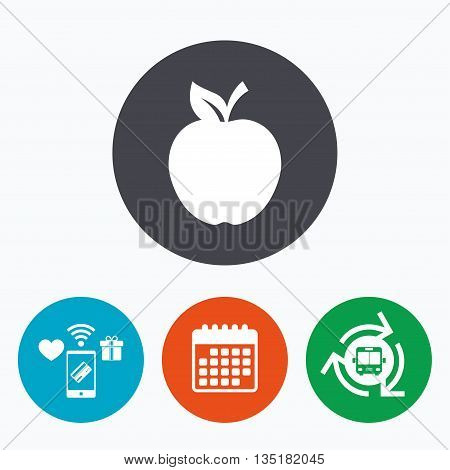 Apple sign icon. Fruit with leaf symbol. Mobile payments, calendar and wifi icons. Bus shuttle.