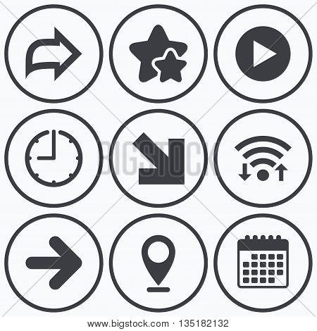 Clock, wifi and stars icons. Arrow icons. Next navigation arrowhead signs. Direction symbols. Calendar symbol.