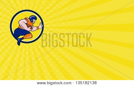 Business card showing illustration of an american football gridiron player running back charging with ball viewed from the side set inside circle on isolated background done in cartoon style.