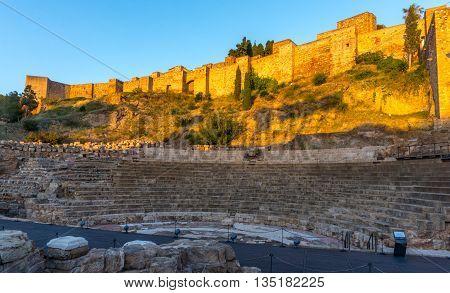 Beautiful Roman amphitheater and seats in Malaga Andalucia Spain
