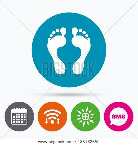 Wifi, Sms and calendar icons. Human footprint sign icon. Barefoot symbol. Foot silhouette. Go to web globe.