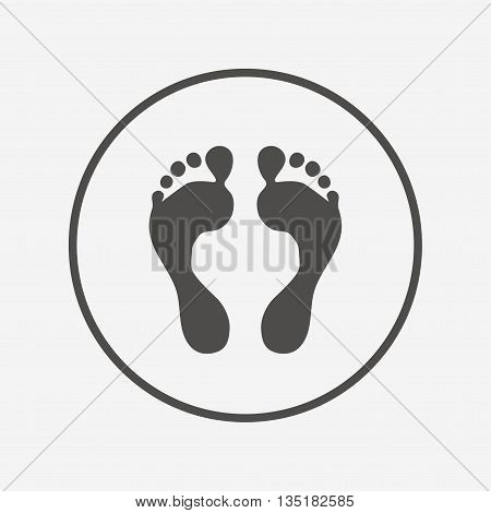 Human footprint sign icon. Barefoot symbol. Flat footprint icon. Simple design footprint symbol. Footprint graphic element. Round button with flat footprint icon. Vector