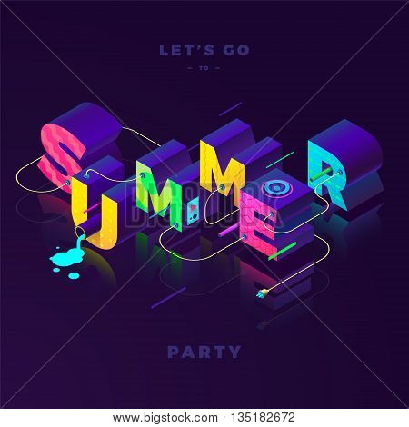 summer party isometric colorful sign, neon colors