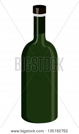 gree  wine bottle front view over isolated background, vector illustration
