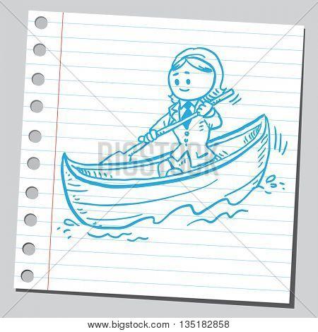 Businesswoman in canoe