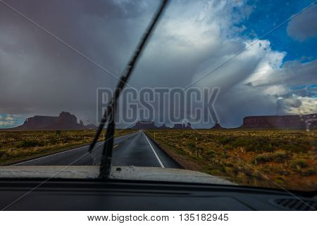 View from inside the car towards the Forrest Gump Point Monument Valley