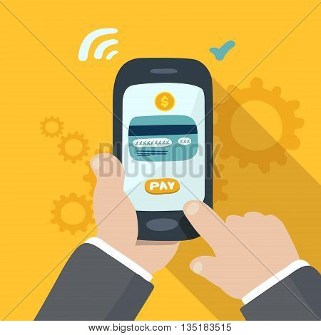 mobile payment hand holding phone doodle illustration