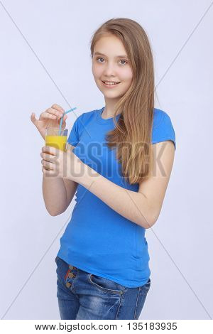 Happy woman drinking juice. Refreshing health, on isolated background