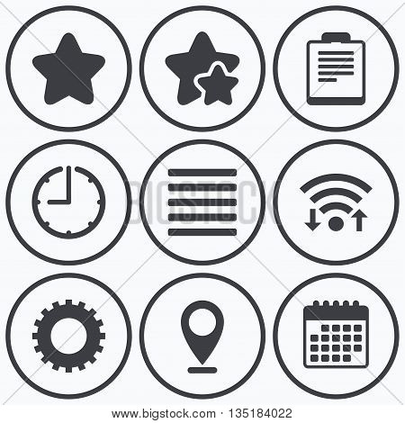 Clock, wifi and stars icons. Star favorite and menu list icons. Checklist and cogwheel gear sign symbols. Calendar symbol.