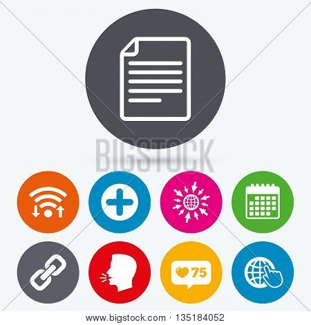 Wifi, like counter and calendar icons. Plus add circle and hyperlink chain icons. Document file and globe with hand pointer sign symbols. Human talk, go to web.