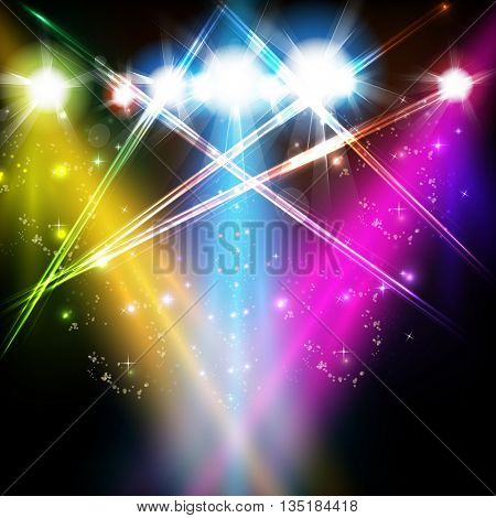 stage, light, spotlights, shine background easy all editable