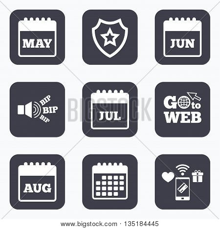 Mobile payments, wifi and calendar icons. Calendar icons. May, June, July and August month symbols. Date or event reminder sign. Go to web symbol.