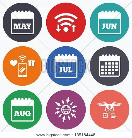 Wifi, mobile payments and drones icons. Calendar icons. May, June, July and August month symbols. Date or event reminder sign. Calendar symbol.