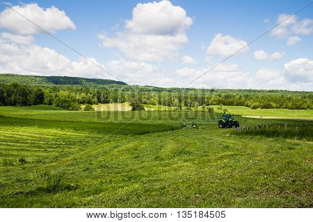 agriculture tractor cutting hay field landscape at summer