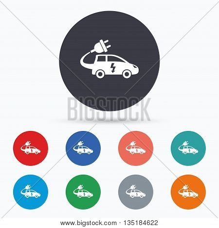 Electric car sign icon. Hatchback symbol. Flat car icon. Simple design car symbol. Car graphic element. Circle buttons with car icon. Vector