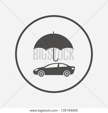 Car insurance sign icon. Protection symbol. Flat insurance icon. Simple design insurance symbol. Insurance graphic element. Round button with flat insurance icon. Vector