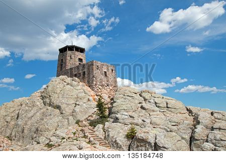 Harney Peak Fire Lookout Tower In Custer State Park In The Black Hills Of South Dakota Usa